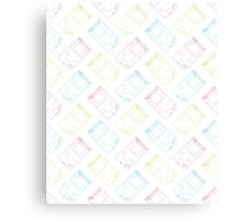 Gameboy Outlines (white) Canvas Print