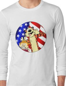 Calvin and hobbes america Long Sleeve T-Shirt