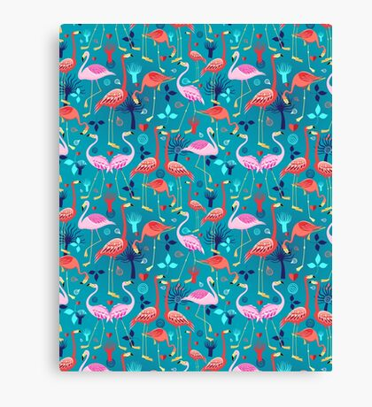 beautiful pattern lovers flamingo Canvas Print