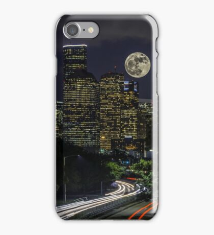 Supermoon over Downtown Houston, TX iPhone Case/Skin