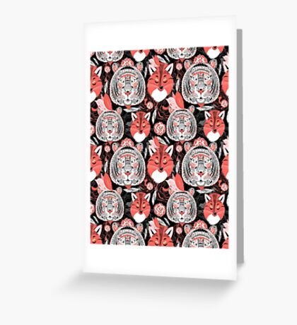 beautiful pattern  portraits of tigers and foxes Greeting Card