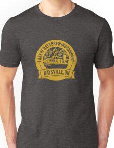 Lake of Bays Brewing Company - Baysville, ON: Cartoon Circular, Mustard Unisex T-Shirt