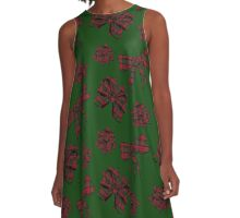 Holiday Bows (green) A-Line Dress