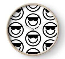 The Internet Generation Collection - Cool Sunglasses Emoji -Black and White Pattern Clock