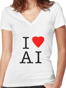 I Love (Heart) Ai Artificial intelligence  Ny parody Women's Fitted V-Neck T-Shirt