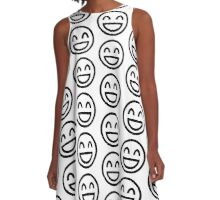 The Internet Generation Collection - Wide Smile Emoji with Closed Eyes - Black and White Pattern  A-Line Dress