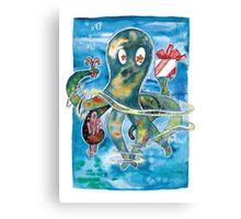 Oktopus Kraken Weihnachten  Canvas Print