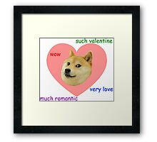 Doge Much Valentines Day Very Love Such Romantic Framed Print