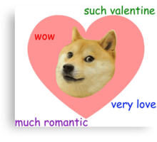 Doge Much Valentines Day Very Love Such Romantic Canvas Print