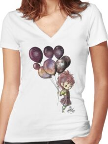 Space Balloons Women's Fitted V-Neck T-Shirt