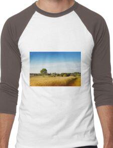 Rural wheat field view Men's Baseball ¾ T-Shirt