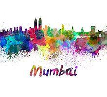 Mumbai skyline in watercolor by paulrommer