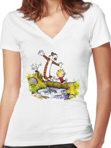 Calvin and Hobbes T-Shirt Women's Fitted V-Neck T-Shirt