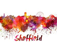 Sheffield skyline in watercolor by paulrommer