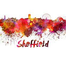 Sheffield skyline in watercolor by paulrommer