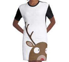 Christmas Reindeer Cartoon Graphic T-Shirt Dress