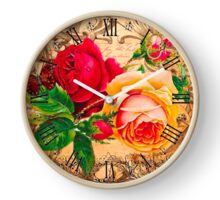 Two roses with leaves Clock