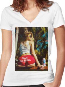 WHITE HOT AMERICA Women's Fitted V-Neck T-Shirt