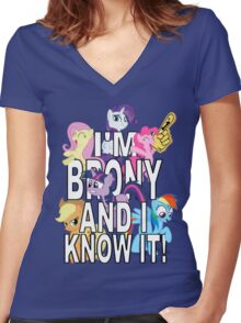 I'M BRONY AND I KNOW IT! Women's Fitted V-Neck T-Shirt