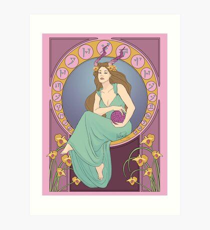 Art Nouveau Dragonborn Kira Art Print