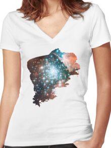 Brush Cosmic Women's Fitted V-Neck T-Shirt