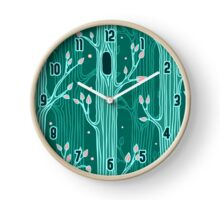 Emerald forest. Seamless pattern with trees Clock