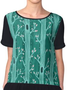 Emerald forest. Seamless pattern with trees Chiffon Top