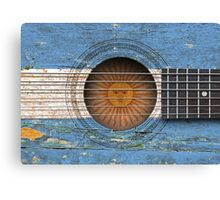 Old Acoustic Guitar with Argentinian Flag Canvas Print