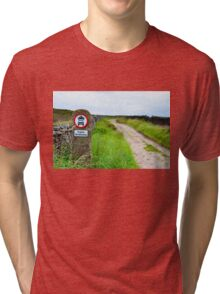 Public bridleway red and white sign post in English countryside Tri-blend T-Shirt