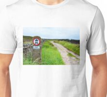 Public bridleway red and white sign post in English countryside Unisex T-Shirt