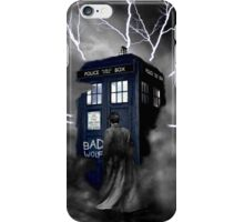 Ligthning Into Blue Bad Wolf Public Police Call Box iPhone Case/Skin