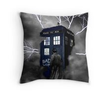 Ligthning Into Blue Bad Wolf Public Police Call Box Throw Pillow