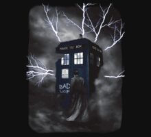 Ligthning Into Blue Bad Wolf Public Police Call Box by Jason Subroto