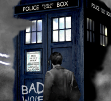 Ligthning Into Blue Bad Wolf Public Police Call Box Sticker