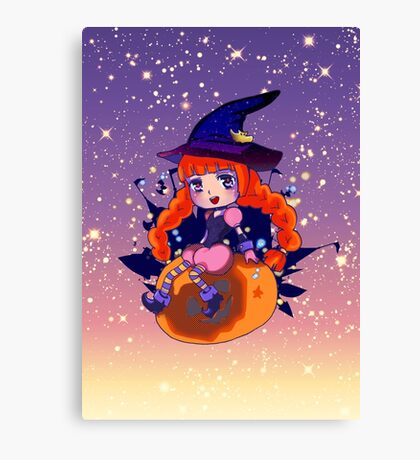 Chibi Halloween Witch alt. Canvas Print