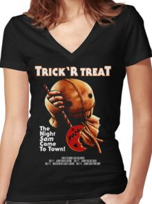 Trick 'r Treat Halloween Mashup T-Shirt Women's Fitted V-Neck T-Shirt