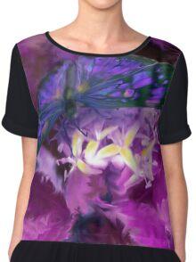 Abstract Purple Butterfly Art Chiffon Top