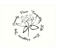 Serenity Tranquility Lotus (Black) Art Print