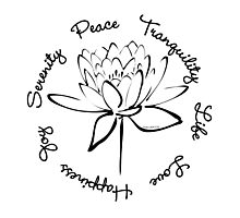 Serenity Tranquility Lotus (Black) Photographic Print
