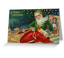 Colorful Victorian Christmas Card with Santa on Sled Greeting Card
