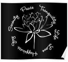 Serenity Tranquility Lotus (White) Poster