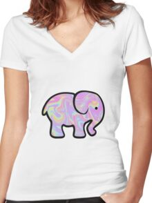Holographic Elephant Women's Fitted V-Neck T-Shirt