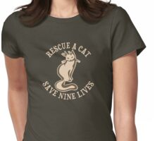 Rescue A Cat Save Nine Lives Womens Fitted T-Shirt