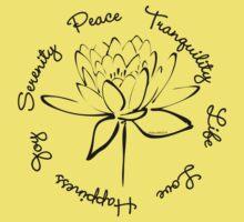 Serenity Tranquility Lotus (Black) Kids Tee