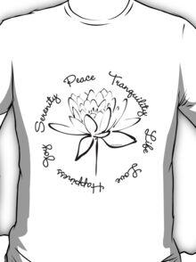 Serenity Tranquility Lotus (Black) T-Shirt