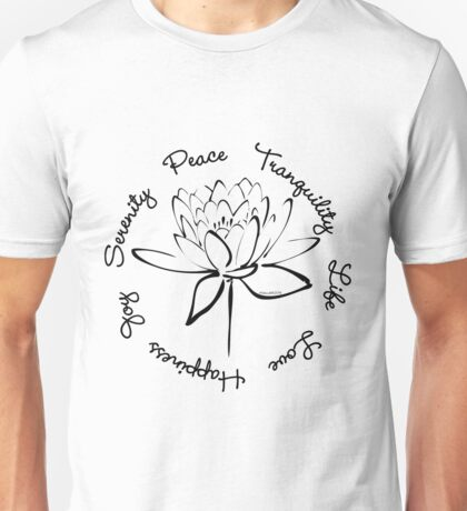 Serenity Tranquility Lotus (Black) Unisex T-Shirt