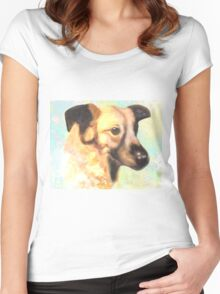 Water Color Dog Portrait  Women's Fitted Scoop T-Shirt