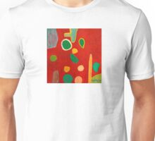 Scattered Things over Red  Unisex T-Shirt