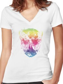 butterflyed skull Women's Fitted V-Neck T-Shirt