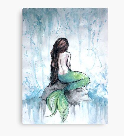 Mermaid Watercolor Painting Canvas Print
